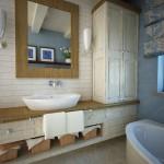 Drewno i jasne barwy w prowansalskiej łazience