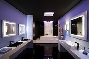 łazienka oświetlona LED