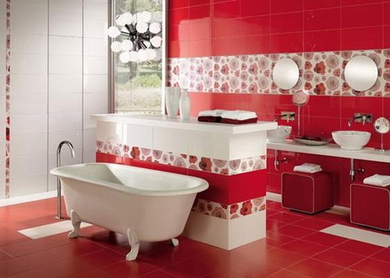 czerwony kolor w łazience